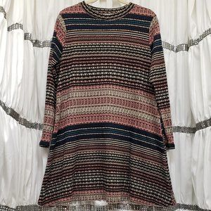 Love, Fire Multi-Color Striped LS Sweater Dress 1X